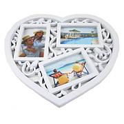 Фоторамка-коллаж на 3 фото, Сердце, пластик, белый