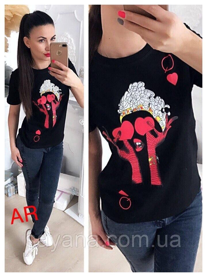 Жіноча футболка з накаткою в кольорах. АР-14-0219