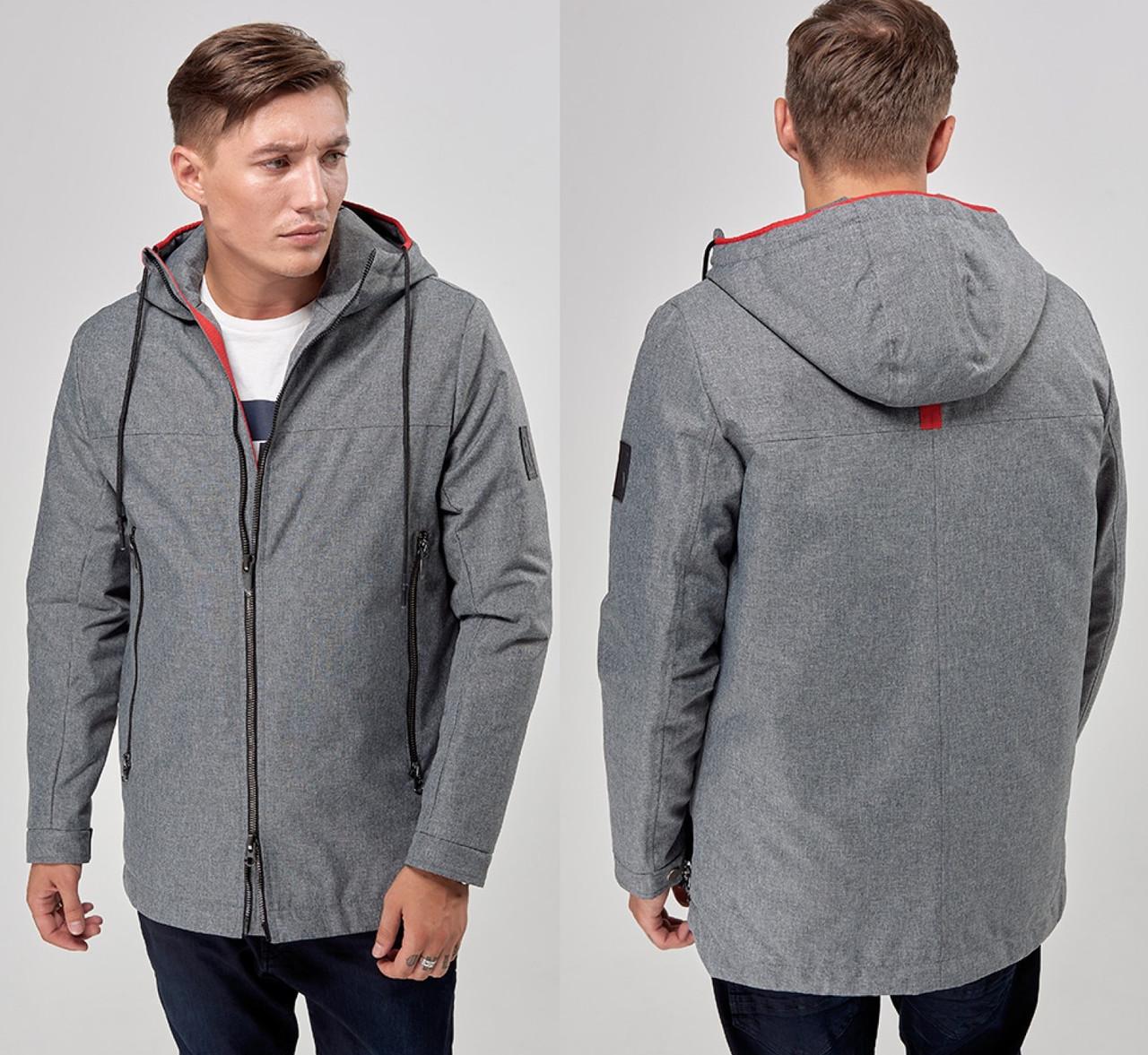 Ветровка мужская серая спортивная куртка на молнии с капюшоном, демисезонная