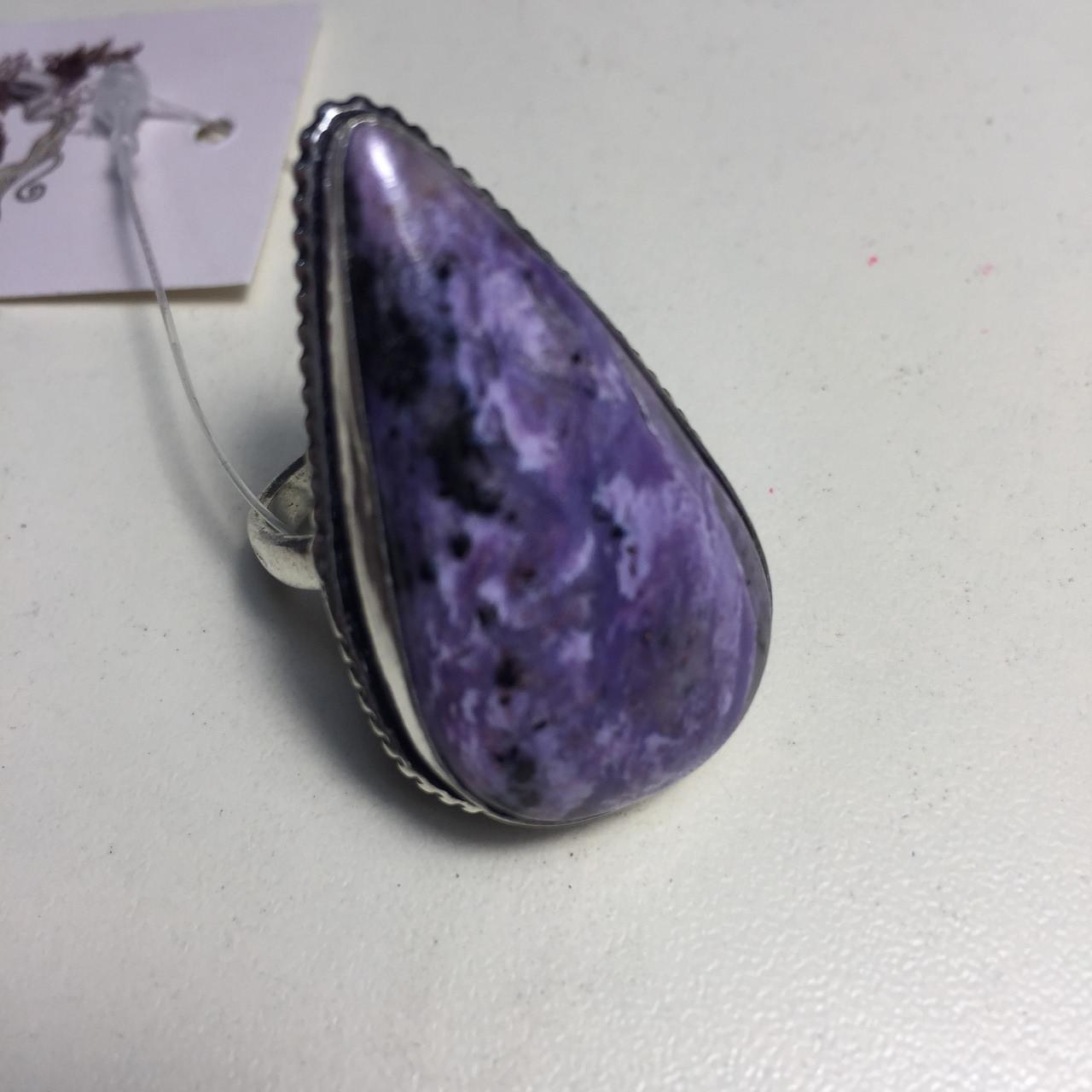Чароит кольцо с чароитом 17,5. Кольцо с камнем чароит Индия