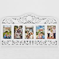 Фоторамка-коллаж на 5 фото, Family, пластик, белый