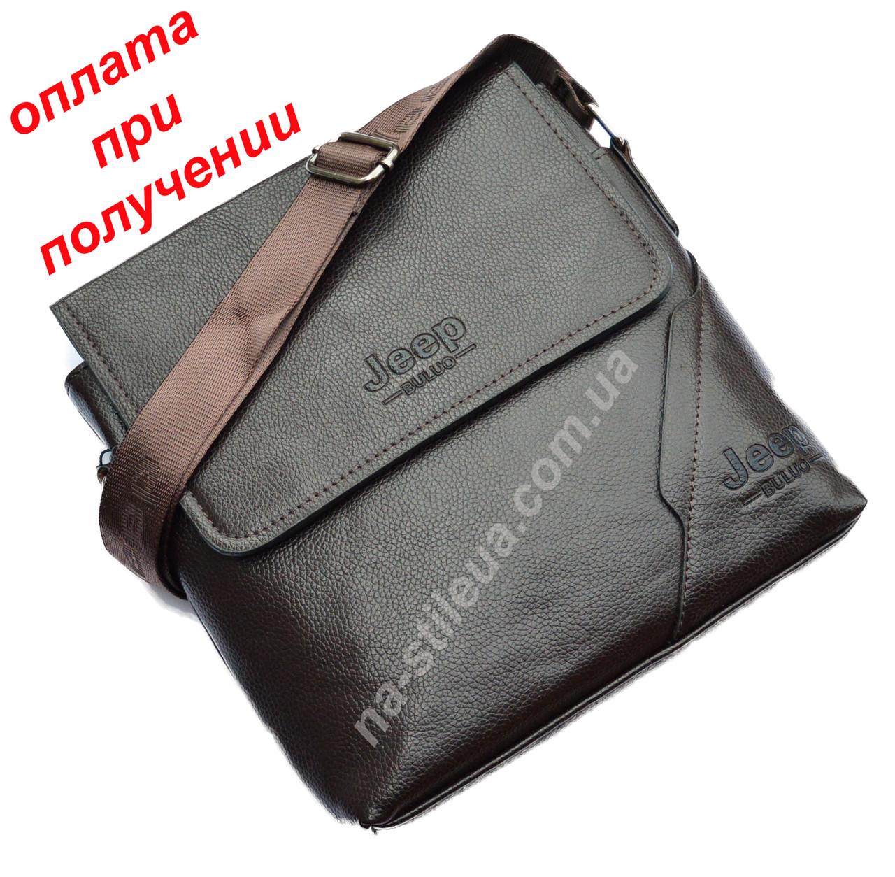 Чоловіча шкіряна сумка барсетка через плече бренд Jeep Polo Поло купити