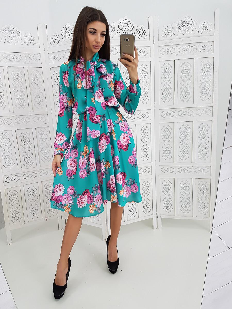 fba9f57add2 Цветочное Платье Миди с Завязкой на Шее — в Категории