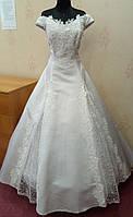Удобное новое белое свадебное платье с изящной линией декольте, А-силуэт, размер 54