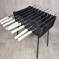 Мангал Огонёк раскладной на 8 шампуров 3мм чемодан + шампурами с деревянной ручкой 8 шт ХВЗ