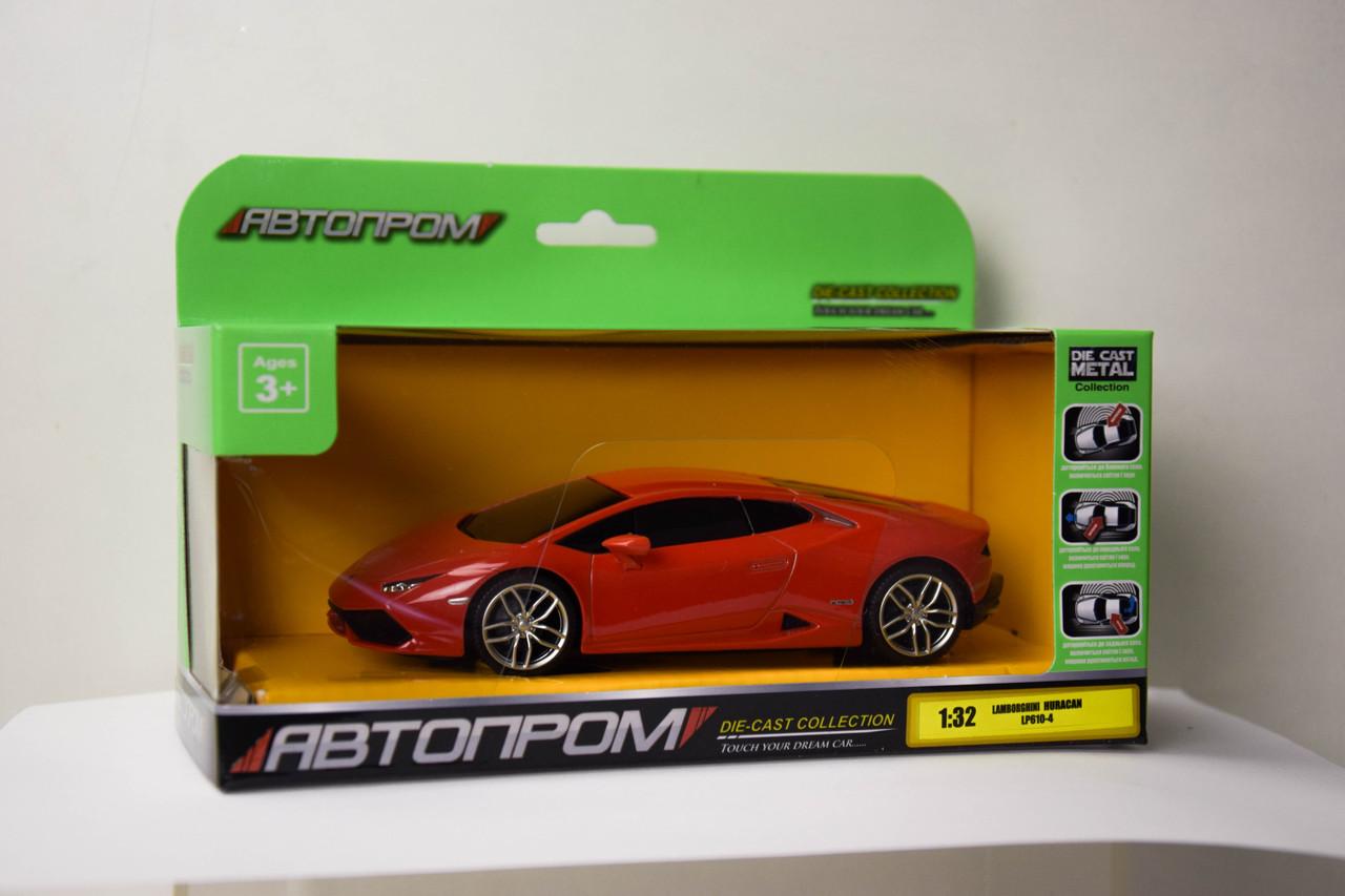 Машина метал-пластик 7605 48шт2 АВТОПРОМ 1:32 Lamborghini Huracan LP610-4,свет,звук,в кор.