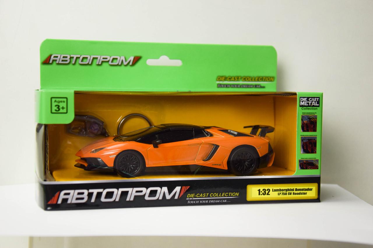 Машина метал-пластик 7603 48шт2АВТОПРОМ 1:32 Lamborghini Aventador LP750 SuperVeloce Roadster , Р