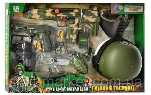 Набор военного 33560  каска, маска, автомат-трещотка,на бат-ке, фото 2
