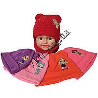 Набор детский шапка и хомут двойной трикотаж для девочек