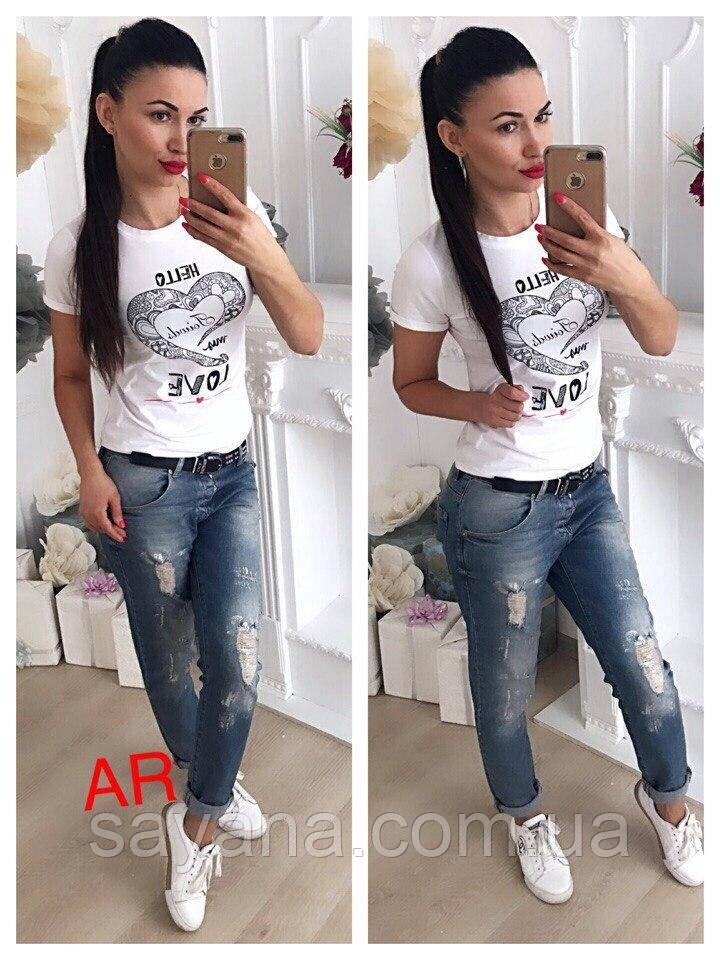 Женская футболка с накаткой в расцветках. АР-18-0219