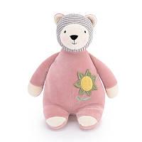 Мягкая велюровая игрушка Мишка розовый, 28см