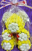 Мишка Тедди жёлтый с белыми вставками 25см