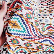 31017 Узор вышивки (красные, синие тона). Квилтинговая ткань для шитья и рукоделия. Ткани с вышивкой., фото 2