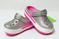 Серебрянные кроксы детские оригинал. Сабо Crocs Crocband блестящие