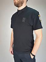 Футболка поло для полиции черная  с липучками