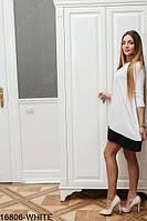 Свободное платье трапеция с карманами и рукавом три четверти Aspen L, White