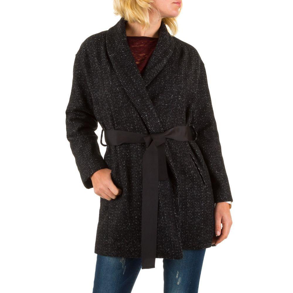 Женское пальто с принтом елочки Jcl (Франция) Черный