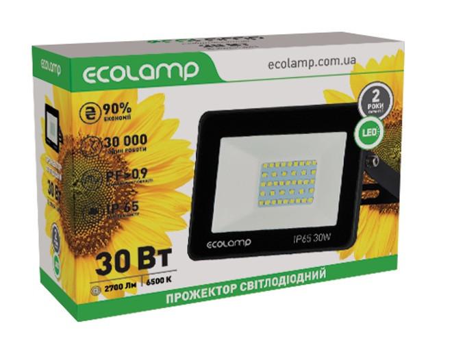 LED-прожектор ECOLAMP 30W -2700lm-6500K-IP65
