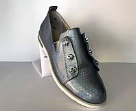 Перламутровые женские туфли из натуральной кожи
