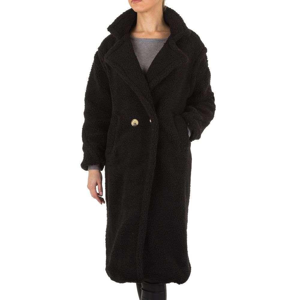 Плюшевое пальто женское длинное Shk Paris (Франция), Черный