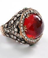Красивое женское кольцо с большим рубином,в османском стиле.