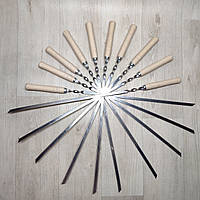 Шампура из нержавейки с деревянной ручкой длинна 60 см толщина 2 мм, фото 1