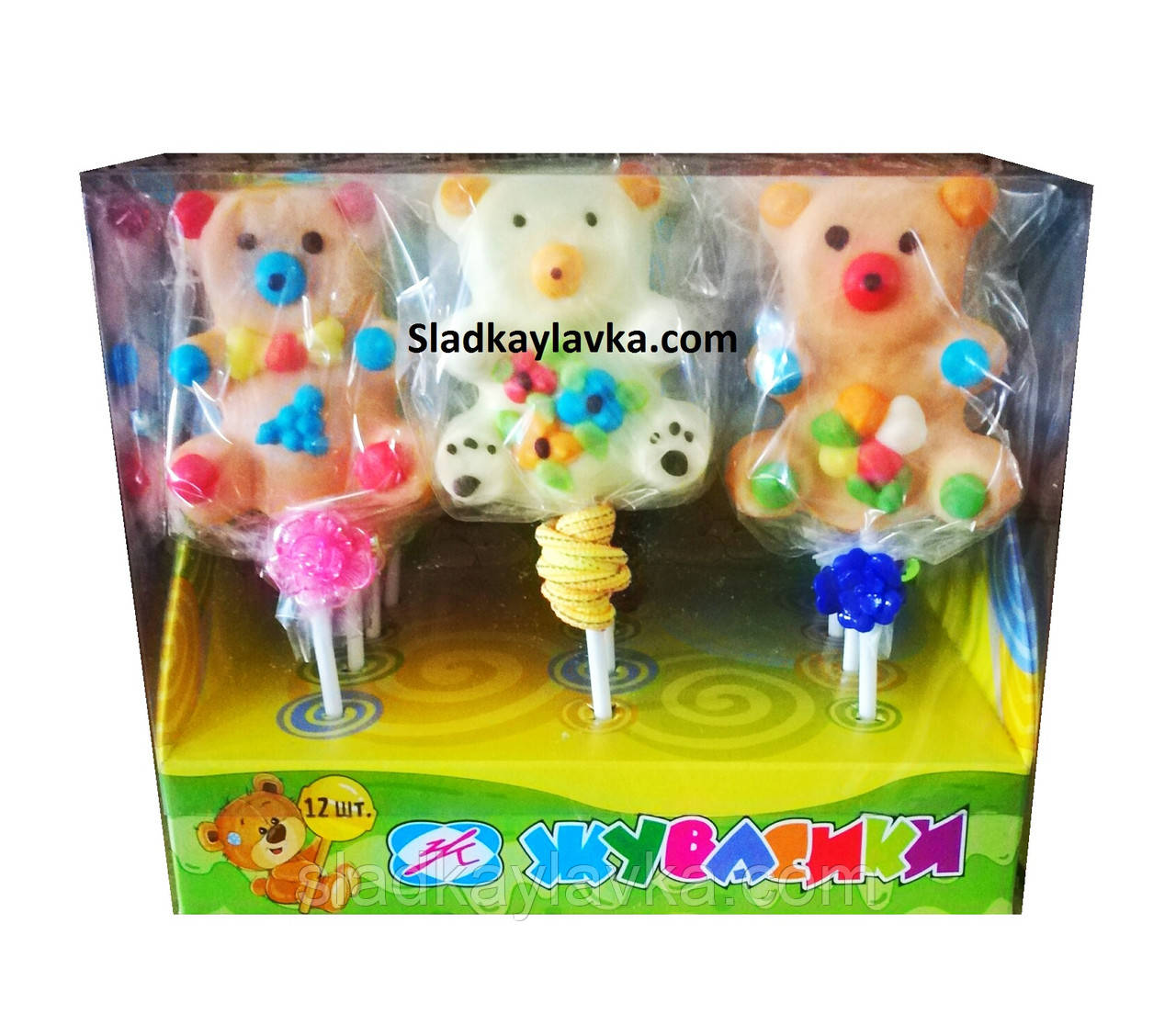 Желейная конфета Мишки Мега на палочке 12 шт (Жувасики)