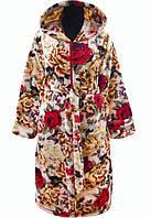 b5b52c8914c0 Большой халат женский махровый халат на поясе теплый домашний зимний  велсофт мягкий больших размеров 46