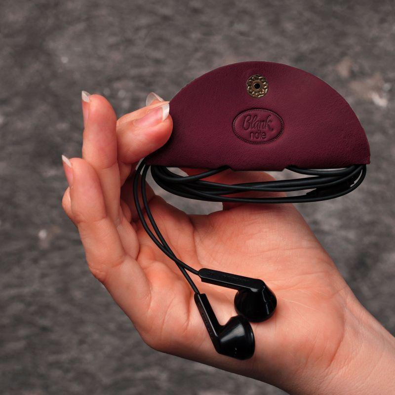 Кожаный холдер для наушников бордовый