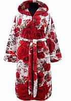 9acd21c76e99 Розовый махровый халат теплый женский домашний на поясе зимний велсофт с  капюшоном Украина 46