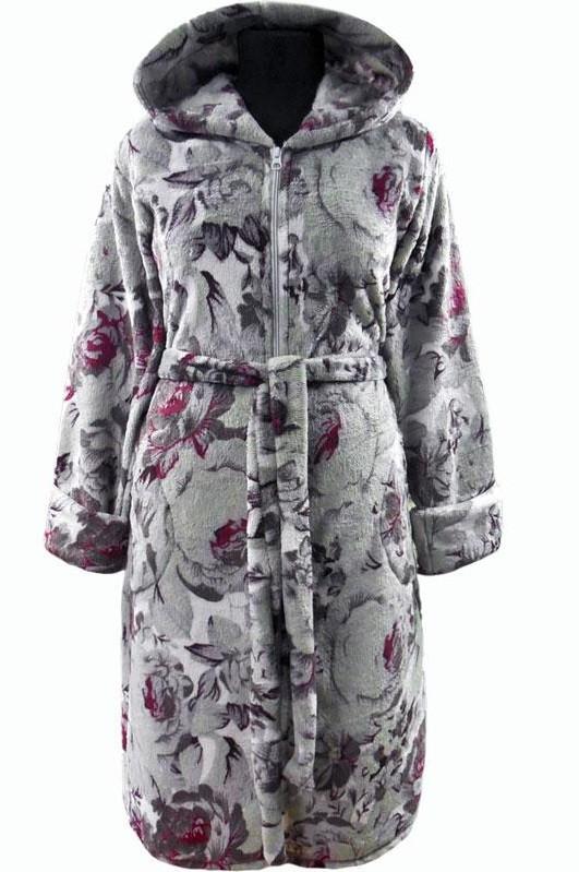 f49d943f97ee Купить Женский махровый халат на поясе теплый домашний зимний велсофт мягкий  с капюшоном серый в Вышгороде от компании