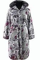 37a93be42f54 Женский махровый халат на поясе теплый домашний зимний велсофт мягкий с  капюшоном серый 48