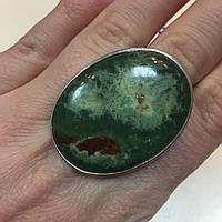Кольцо хризопраз в серебре. Кольцо овальное с хризопразом 19,8 размер. Индия!, фото 1