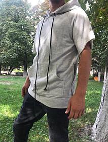Широкая серая гетто swag black футболка на змейках с капюшоном