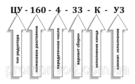 Условное обозначение редуктора ЦУ-160 купить