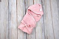 Вязанный конверт- плед с кисточкой, розовый меланж