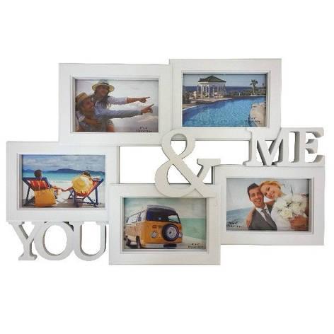 Фоторамка-коллаж на 5 фото, You&Me, пластик, белый, фото 2