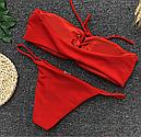 Купальник бандо с шнуровкой (красный), фото 4