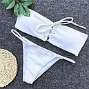 Купальник бандо с шнуровкой (белый), фото 4