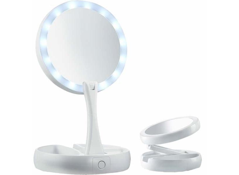 Зеркало косметическое настольное с LED подсветкой и зарядкой от USB My Fold Jin(белое)