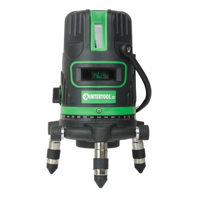 Рівень лазерний 5 лазерних головок, зелений лазер, звукова індикація. INTERTOOL МТ-3008
