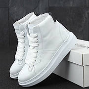 Женские кроссовки в стиле Alexander McQueen High Leather White\Black Белые