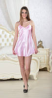 Пеньюар женский, атлас, сорочка ночная короткая шелк, шелковый пеньюар, цвет - розовый, размеры от 40 до 46