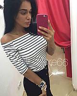 Женская полосатая кофта / топ с открытыми плечами, фото 1