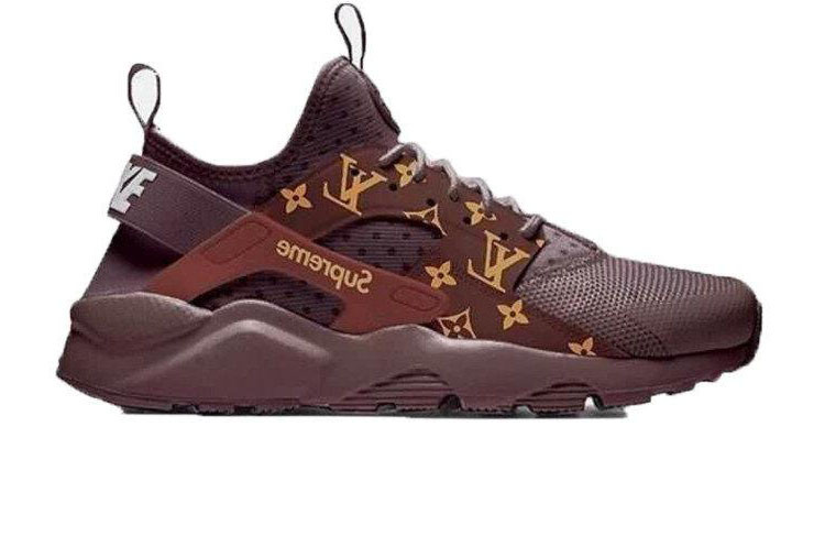 3fad63c2 Кроссовки женские LV x Supreme x Nike Air Huarache Run Ultra Brown (Реплика  ААА класса