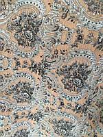 Шенилл ширина ткани 150 см сублимация коричневые узоры, фото 1