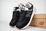 Женские кроссовки New Balance 574, черные, замша + сетка, фото 6