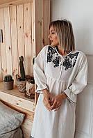 Женское свободное платье с вышивкой - белое