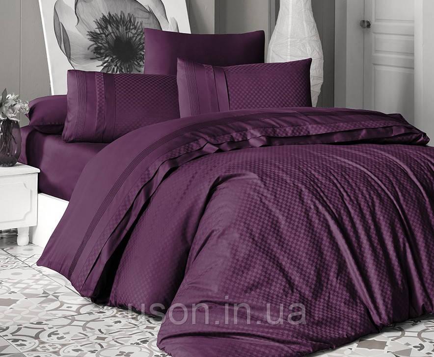 Комплект постельного белья сатин delux first choice евро размер square style fucia