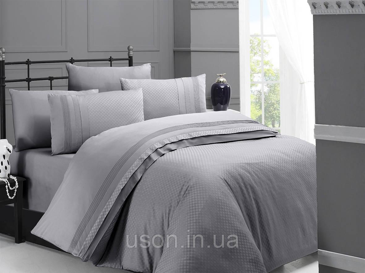 Комплект постельного белья сатин delux first choice евро размер square style gri